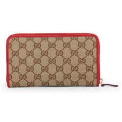 New Gucci Women's Beige Brown Gg Guccissima Zip Around Wallet Clutch