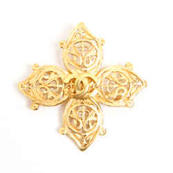Vintage Chanel Gold Filagree Cross Brooch