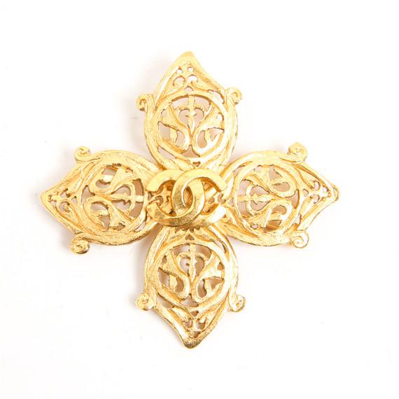 Vintage Chanel Gold Filagree Cross Brooch