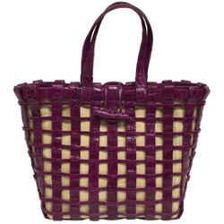 "Nancy Gonzalez Toggle Purple Crocodile Skin Leather Tote 9""L x 12""W x 4""H Item #: 24558053"