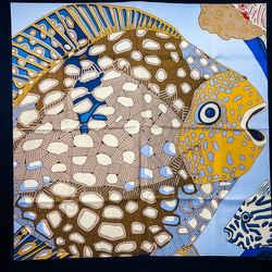 Grands Fonds Detail Hermes Scarf By Faivre 90 Cm Silk Blue