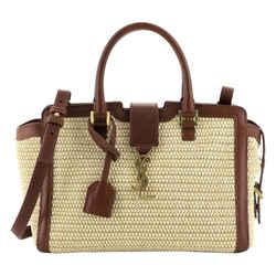 Saint Laurent Baby Cabas Raffia Brown Leather Trim Satchel Bag 424868