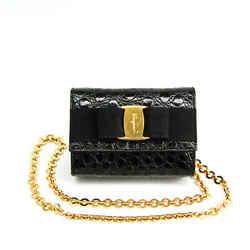 Salvatore Ferragamo Vara AQ213202 Women's Leather Shoulder Bag Black BF514183