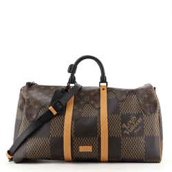 Nigo Keepall Bandouliere Bag Limited Edition Giant Damier and Monogram Canvas 50