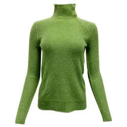 Loro Piana Green Cashmere Sweater with Grey Elbow Patch