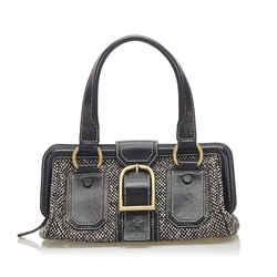 Vintage Authentic Celine Black Tweed Fabric Ella Frame Handbag France