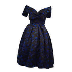 1950s Christian Dior Couture Blue & Black Silk & Velvet New Look Dress, Iconic