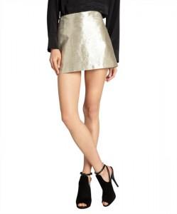 Alice + Olivia Metallic Gold Skirt fashion of the future