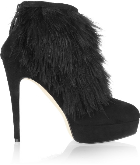 Love Me Two Times Brian Atwood Black Suede Feather Booties