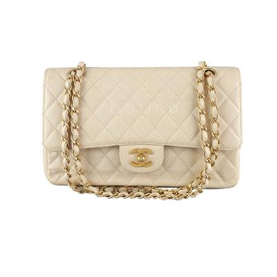 Chanel Light Beige Caviar Medium Classic 2.55 Double Flap Bag