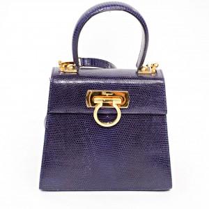 Ferragamo Salvatore Purple Lizard Handbag