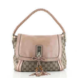 Bella Flap Shoulder Bag GG Canvas with Leather Medium