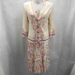 St John Ivory Knit Skirt Set Medium