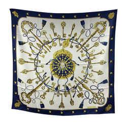Hermes Paris Vintage Blue Silk Scarf Les Clefs 1965 Caty Latham