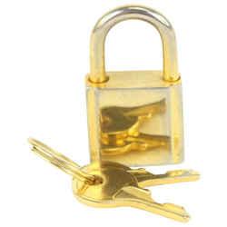 MCM Gold-Tone Visetos Padlock and Key Cadena Bag Charm Set 916mcm91