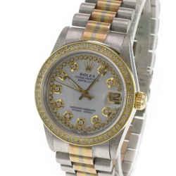 Rolex President Tridor Midsize White Mop Yellow Rose Gold Diamond Watch 68279