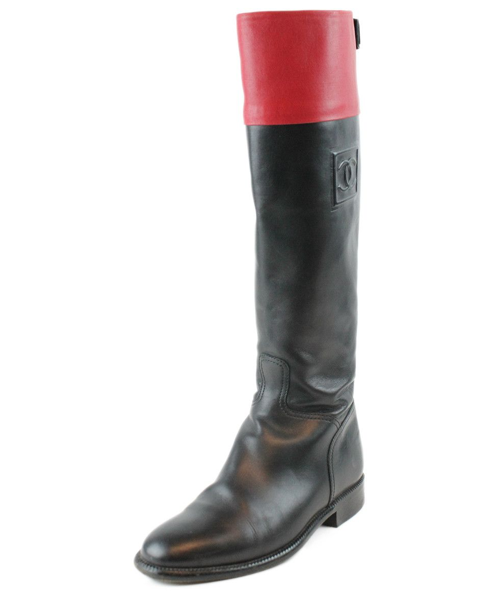 Chanel Black Red Leather Boots Sz 37