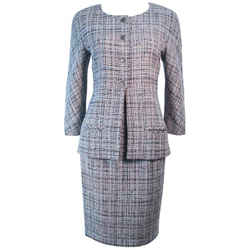 CHANEL Grey and Blue Skirt Suit Size 42