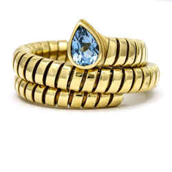 Bulgari Blue Topaz Tubogas Serpenti Ring in  18k Yellow Gold Size 8