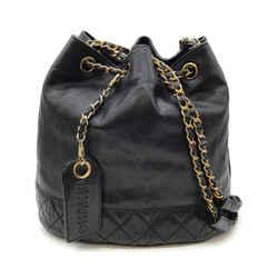 Chanel Drawstring Vintage Black Leather Bucket Bag