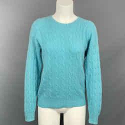 RALPH LAUREN Black Label Size S Aqua Cable Knit Cashmere Pullover