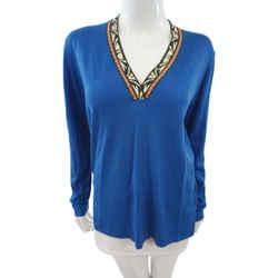 Etro Size 44 Blue V-Neck Sweater Etro Size 44 Blue V-Neck Sweater