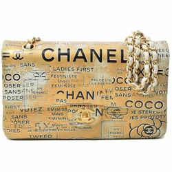 Auth Chanel Newspaper Pattern Leather Flap Shoulder Bag