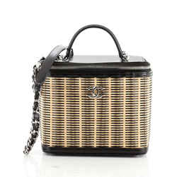 Vanity Case Rattan and Calfskin Small