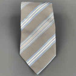 ERMENEGILDO ZEGNA Gray & Light Blue Diagonal Stripe Silk / Cotton Tie