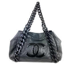 Chanel  Black Leather Modern Chain Tote East West 1CC923
