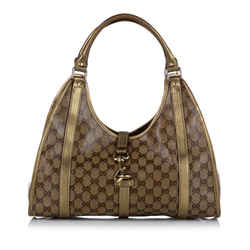 Vintage Authentic Gucci Brown PVC Plastic GG Crystal Jackie Shoulder Bag Italy