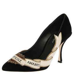Dolce & Gabbana Black Velvet Love Embellished Pointed Toe Pumps Size 37