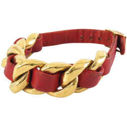 Chanel Red Leather Coco Gold Chain Bracelet Bangle Cuff 860882
