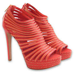 NEW $1253 DIOR Strappy Mini Studded Bracelet Platform Sandals - Red - Size 39