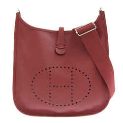 Auth Hermes Hermes Evelyn Iii Pm Vaux Epson Shoulder Bag Red Leather