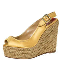 Christian Louboutin Gold Satin Menorca Espadrille Wedge Sandals Size 36