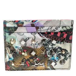 Christian Louboutin Multicolor Trash Print Patent Leather Kios Spiked Card Ho...