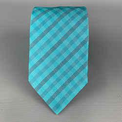 Armani Collezioni Aqua Blue Plaid Silk Tie