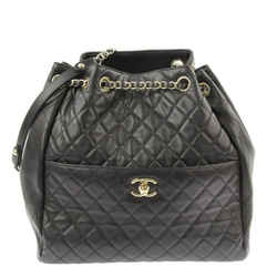 "Chanel Drawstring Quilted Bucket Black Lambskin Leather Shoulder Bag 11""l X 5""w X 12""h"