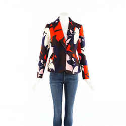 Delpozo Jacket Multicolor Floral Print Cotton Blazer SZ 38