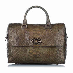 Brown Mulberry Python Embossed Lily Handbag Bag