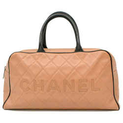 Chanel Bicolor Beige x Black Quilted Caviar Boston Duffle Sports Line 861332