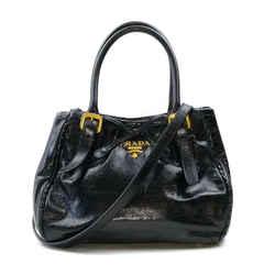 Prada Black Glazed Leather 2way Tote Bag with Strap 863451