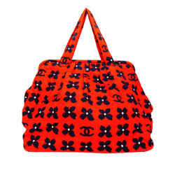 Red Chanel CC Canvas Tote Bag