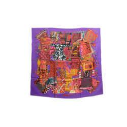 Auth Hermes Vintage 100% Silk Scarf Voyage en Etoffes Faivre Purple 90cm Carre
