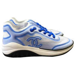 .Chanel Sz 41 19P Mesh Blue Sneaker CC Logo White G34763 6c0