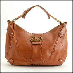 Rdc11553 Authentic Valentino Tan Whip Stitched Leather Crystal V Clasp Hobo Bag
