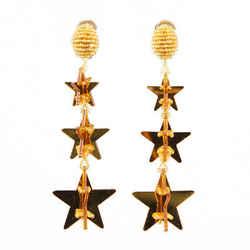 Oscar de la Renta Gold Tone Star Drop Earrings