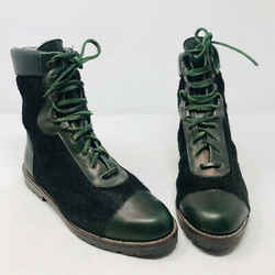 Kenzo 38 Olive Green Leather Calf Hair Combat Boots 2400-531-12220