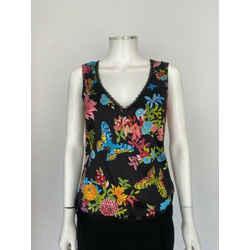 Escada Black Floral Lace Trim Silk Sleeveless Top Sz S